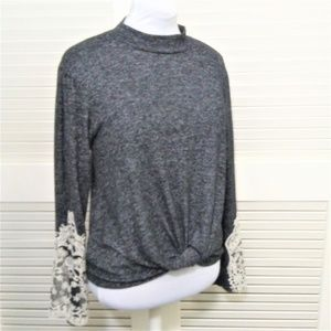 Altard State Long Sleeve Mock Neck Lace Sleeves